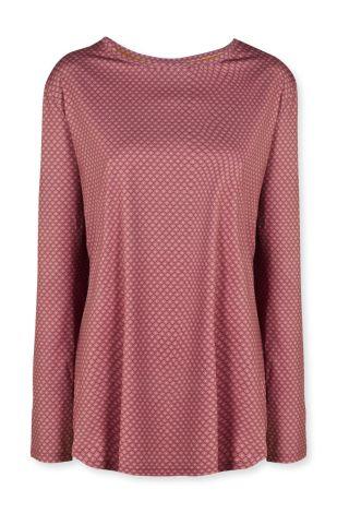 Sport Shirt Lange Mouw Pip Studio Tamar Lace Flower Red Voorkant